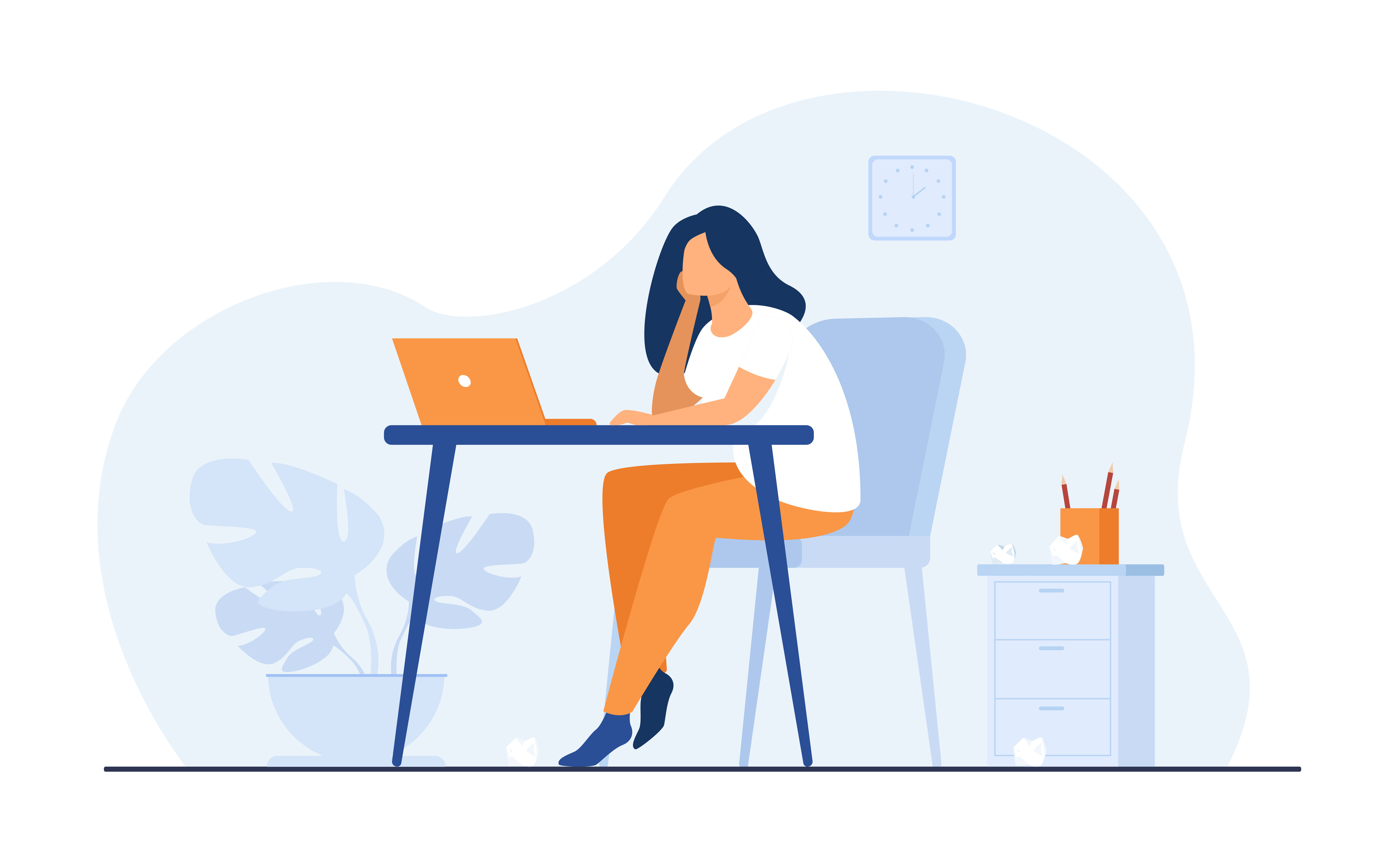 exhausted woman sitting and table and working